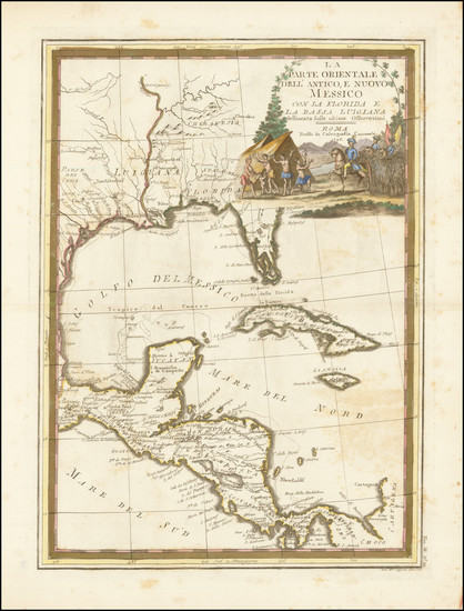 32-Florida, South, Southeast, Texas and Central America Map By Giovanni Maria Cassini