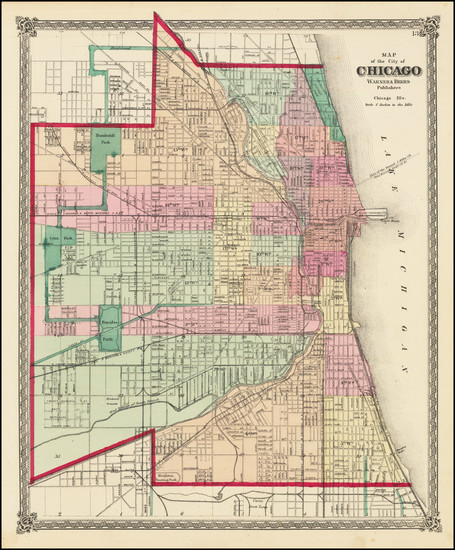 80-Chicago Map By Warner & Beers