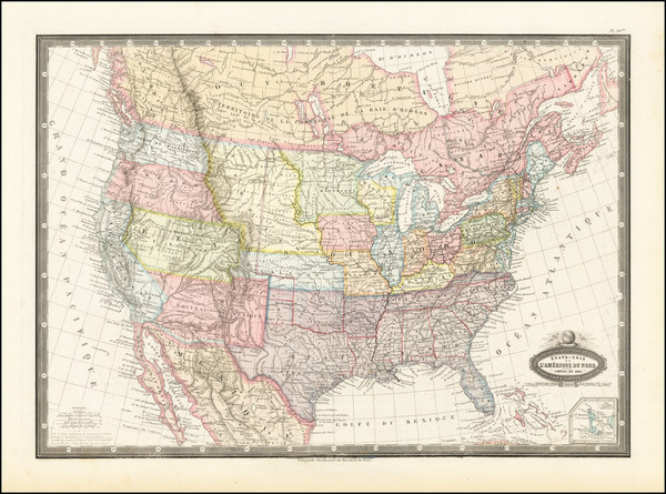 64-United States Map By F.A. Garnier