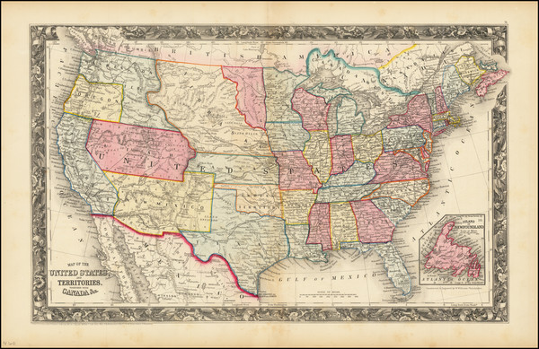 80-United States Map By Samuel Augustus Mitchell Jr.