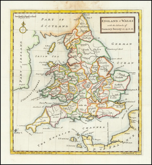 62-England and Wales Map By Herman Moll