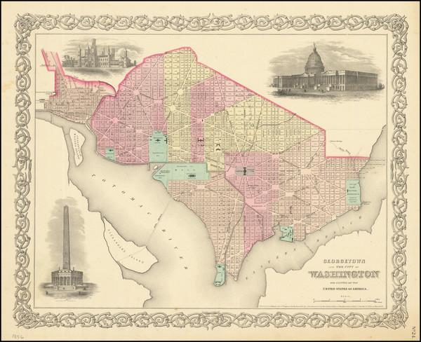 59-Washington, D.C. Map By Joseph Hutchins Colton