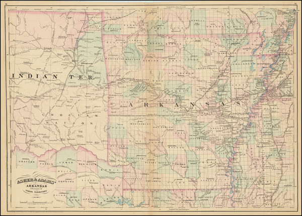 4-Arkansas and Oklahoma & Indian Territory Map By Asher / Adams