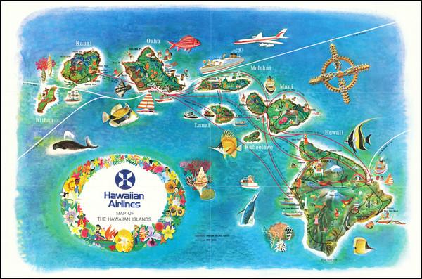 83-Hawaii and Hawaii Map By Hawaiian Airlines