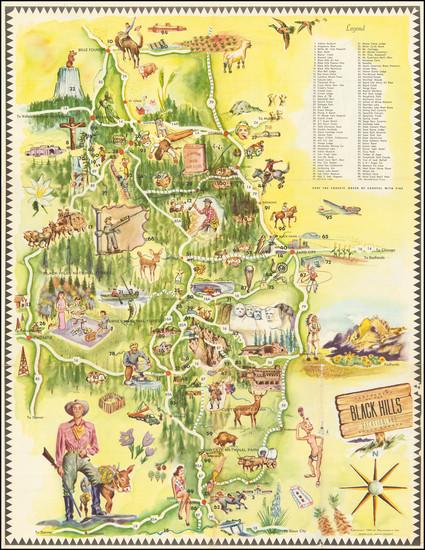 82-South Dakota and Pictorial Maps Map By Dean Nauman
