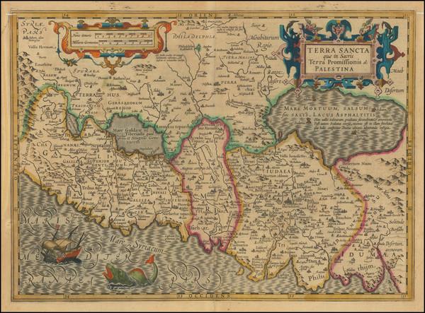 24-Holy Land Map By Jodocus Hondius