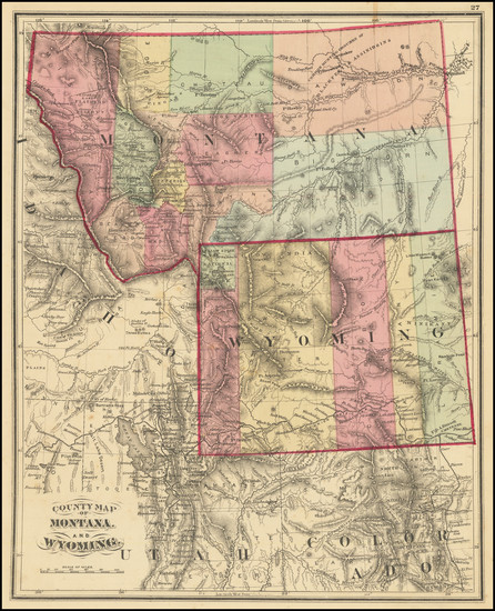 75-Montana and Wyoming Map By Anonymous