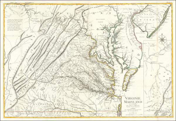 0-Mid-Atlantic, Maryland, Delaware, Southeast and Virginia Map By Georges Louis Le Rouge