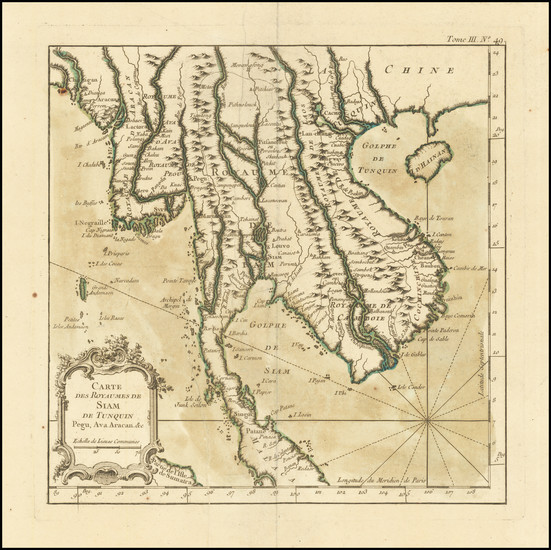 84-Malaysia and Thailand, Cambodia, Vietnam Map By Jacques Nicolas Bellin