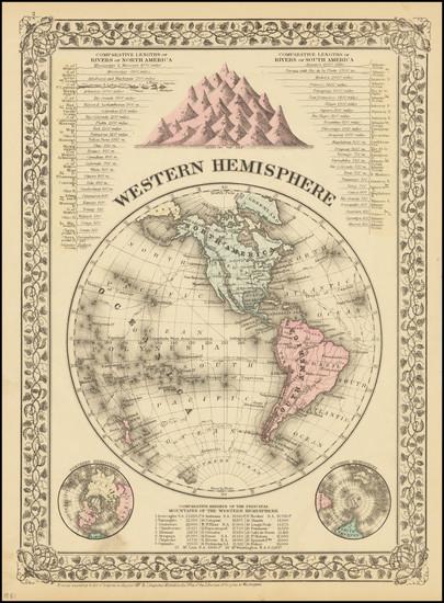 11-Western Hemisphere Map By Samuel Augustus Mitchell Jr.