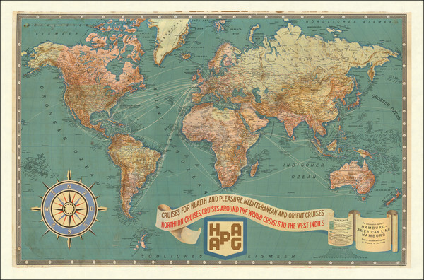 68-World and Travel Posters Map By Hamburg American Line