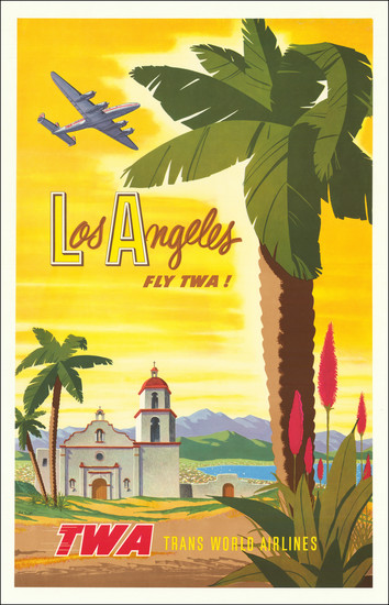 5-Los Angeles, San Diego and Travel Posters Map By Bob Harmer Smith / Trans World Airlines