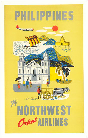73-Philippines and Travel Posters Map By Northwest Airlines
