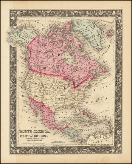 77-North America Map By Samuel Augustus Mitchell Jr.