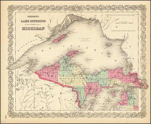 62-Michigan Map By Joseph Hutchins Colton