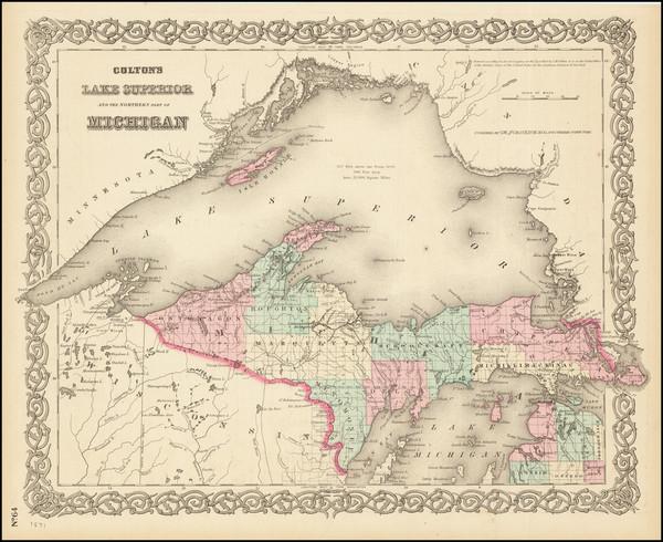48-Michigan Map By Joseph Hutchins Colton