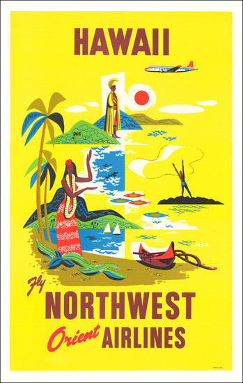 2-Hawaii, Hawaii and Travel Posters Map By Northwest Airlines