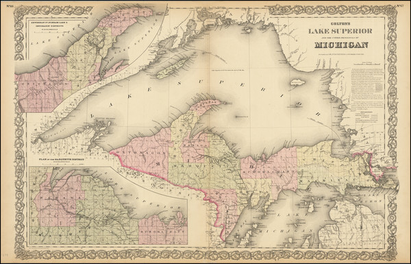63-Michigan Map By G.W.  & C.B. Colton