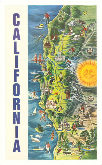 24-Pictorial Maps, California and Travel Posters Map By F. Holub