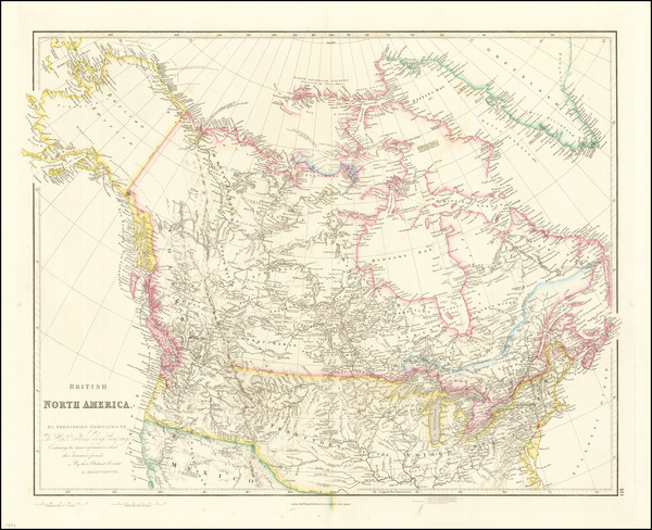 7-Polar Maps, Rocky Mountains, Alaska, Canada and Western Canada Map By John Arrowsmith
