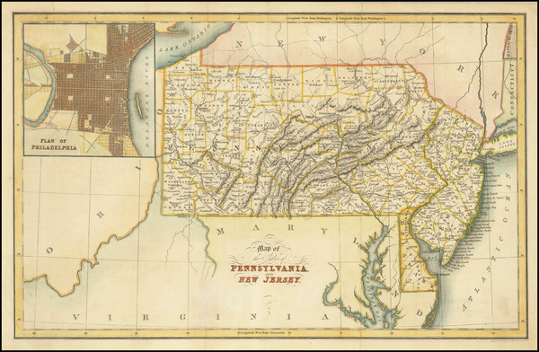 3-New Jersey, Pennsylvania and Philadelphia Map By Hinton, Simpkin & Marshall
