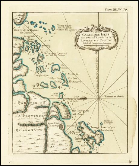 64-China and Hong Kong Map By Jacques Nicolas Bellin