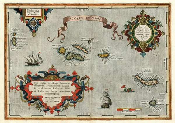 82-World, Atlantic Ocean, Europe and Portugal Map By Abraham Ortelius