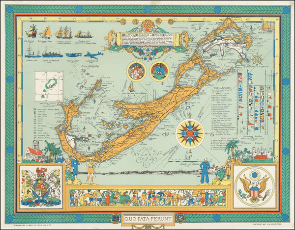 15-Bermuda and Pictorial Maps Map By D M Kirkpatrick