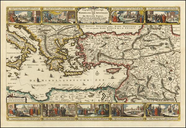 92-Mediterranean, Holy Land, Turkey & Asia Minor and Greece Map By Nicolaes Visscher I