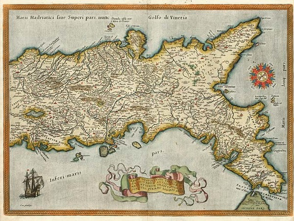 57-Europe, Italy and Mediterranean Map By Abraham Ortelius