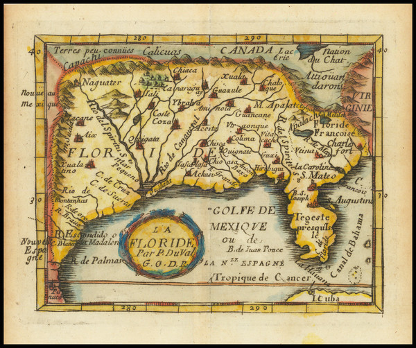 93-Florida, South and Southeast Map By Pierre Du Val
