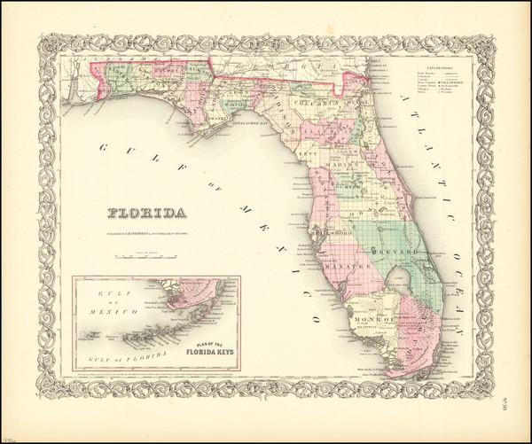 54-Florida Map By Joseph Hutchins Colton
