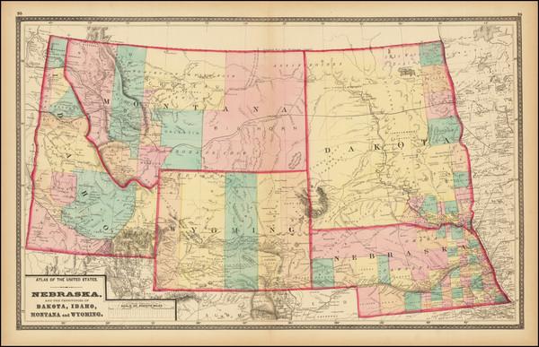 99-Nebraska, North Dakota, South Dakota, Idaho, Montana and Wyoming Map By Walling & Gray