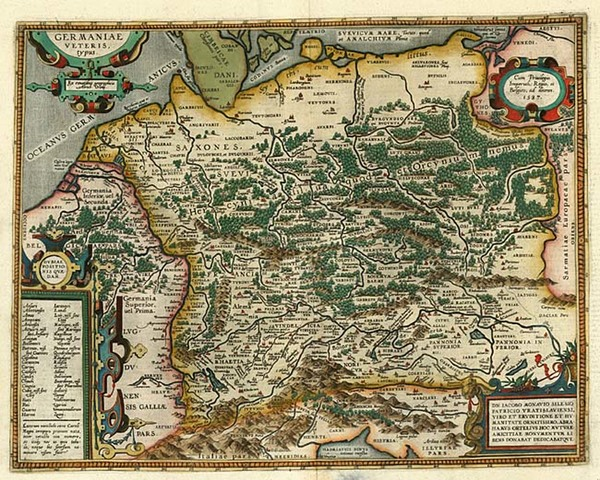52-Europe, France, Germany, Poland and Baltic Countries Map By Abraham Ortelius