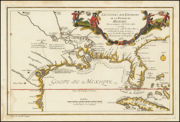 12-South, Southeast, Texas, Midwest and Southwest Map By Nicolas de Fer