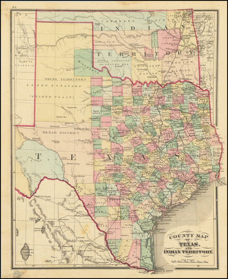 51-Texas and Oklahoma & Indian Territory Map By H.H. Lloyd