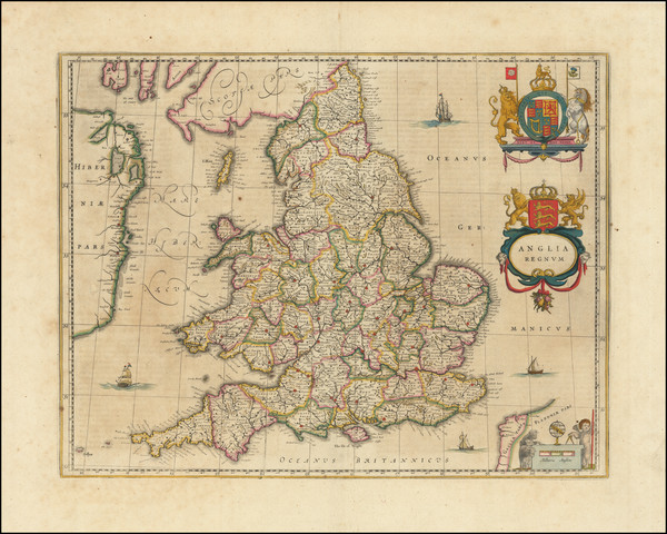 72-England Map By Willem Janszoon Blaeu