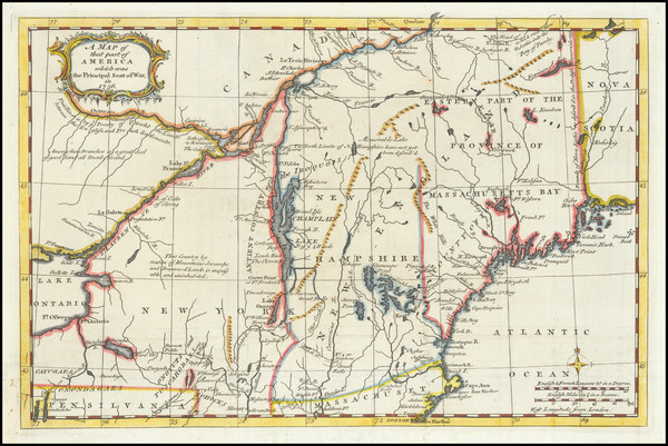 61-New England, New Hampshire, Vermont and New York State Map By Gentleman's Magazine