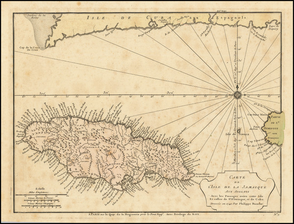 82-Jamaica Map By Philippe Buache