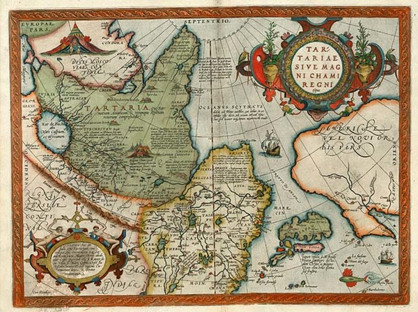 18-Asia, Japan, Central Asia & Caucasus and California Map By Abraham Ortelius