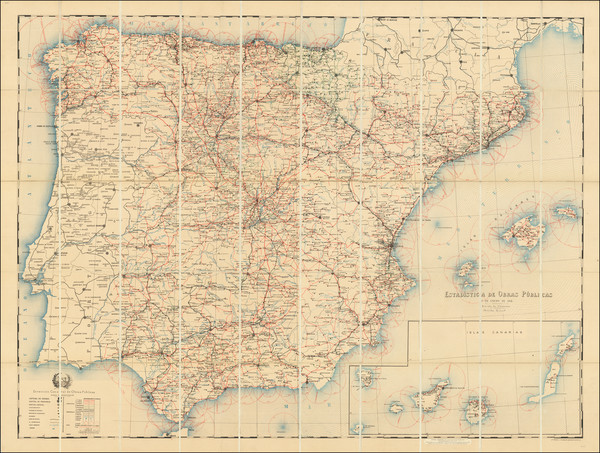 82-Spain and Portugal Map By Direccion General de Obras Publicas