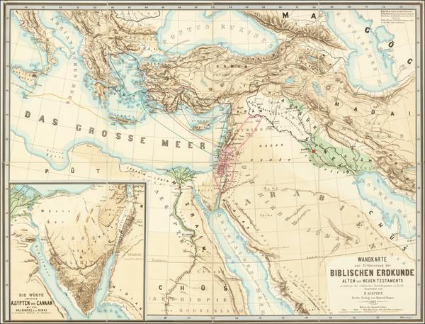 43-Mediterranean and Holy Land Map By Heinrich Kiepert