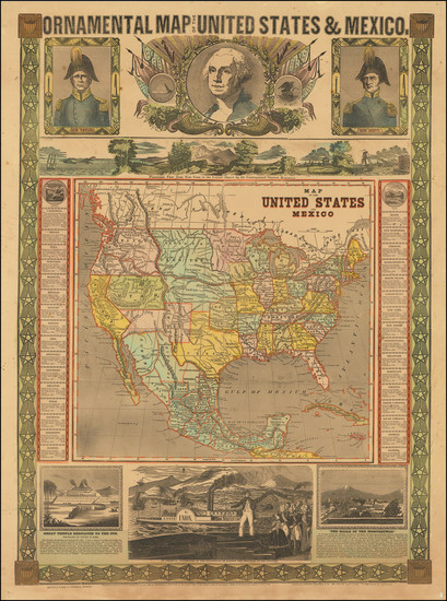 89-United States, Minnesota, North America and Mexico Map By Humphrey Phelps