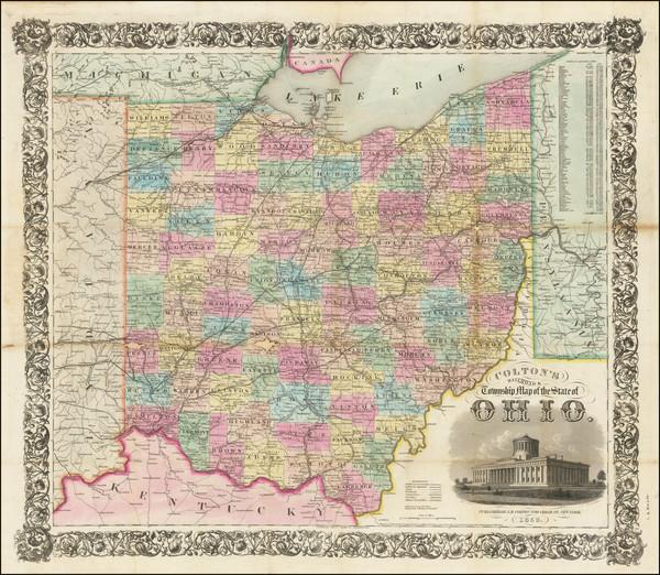 87-Ohio Map By Joseph Hutchins Colton