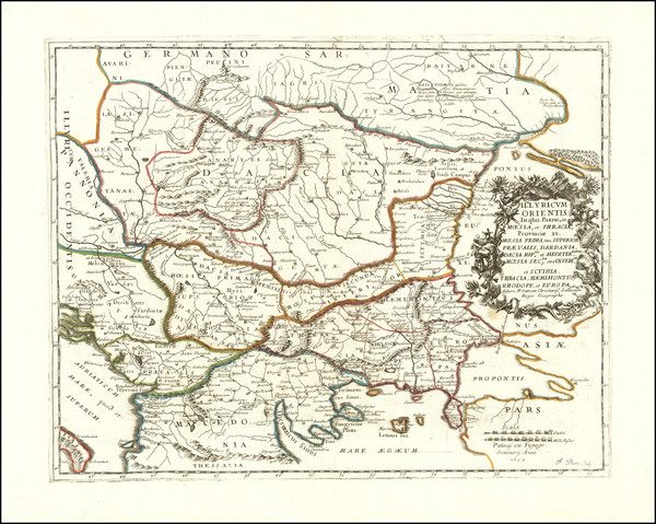 74-Romania, Serbia, Albania, Kosovo, Macedonia, Bulgaria, Turkey and Greece Map By Nicolas Sanson