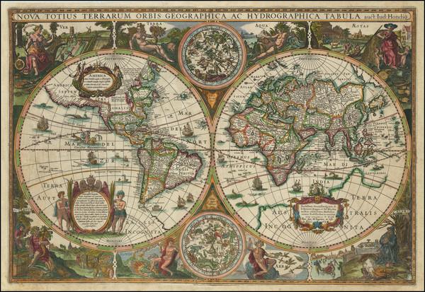 31-World Map By Melchior Tavernier / Jodocus Hondius II