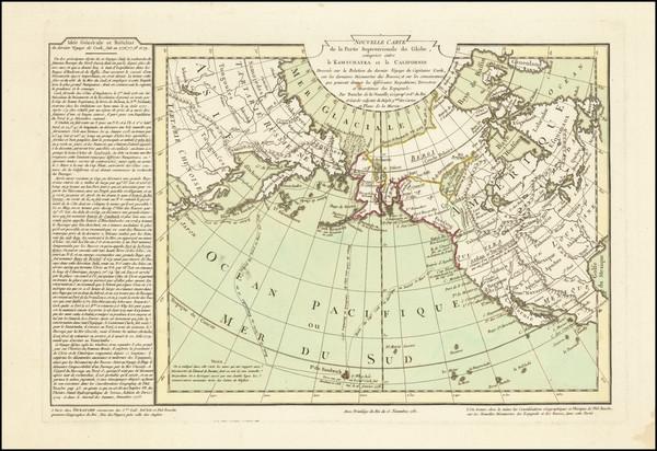 27-Polar Maps, Alaska, Pacific, Russia in Asia and California Map By Philippe Buache / Jean-Claude