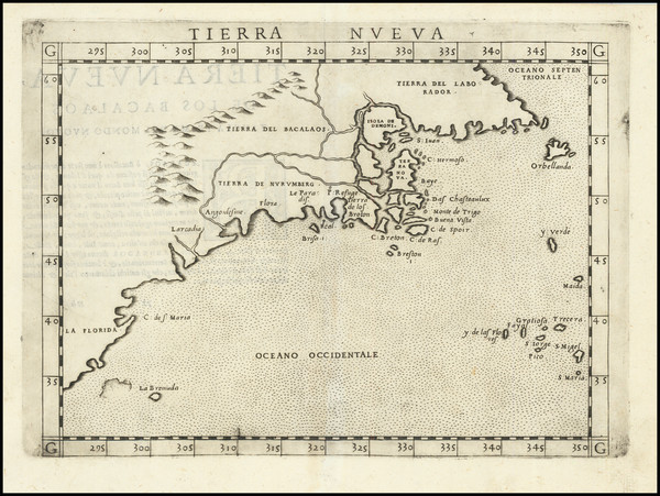 28-New England, Mid-Atlantic, Southeast and Canada Map By Girolamo Ruscelli