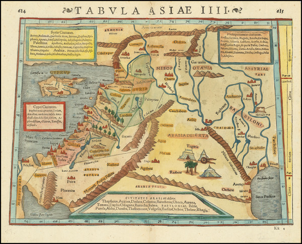 57-Cyprus and Holy Land Map By Sebastian Munster