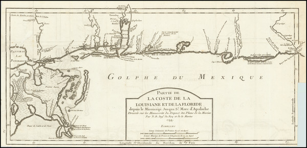 78-Florida, South, Louisiana, Alabama and Mississippi Map By Jacques Nicolas Bellin